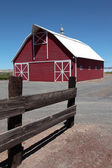 New Barn and fence, south Oregon. — Stock Photo