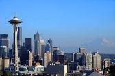 Seattle skyline at sunset, Washington state. — Stock Photo