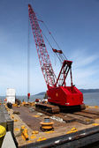 Heavy duty crane on a barge, port of Astoria OR. — Stock Photo