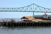 Pile of logs on decks & the Astoria bridge, OR. — Stock Photo
