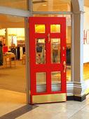 Red door, store entrance Portland OR. — Stok fotoğraf