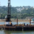 Construction site for a new bridge, Portland OR. — Stock Photo