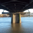 Underneath the Hawthorne bridge, Portland OR. - Stock Photo