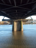 Underneath the Hawthorne bridge, Portland OR. — Stock Photo