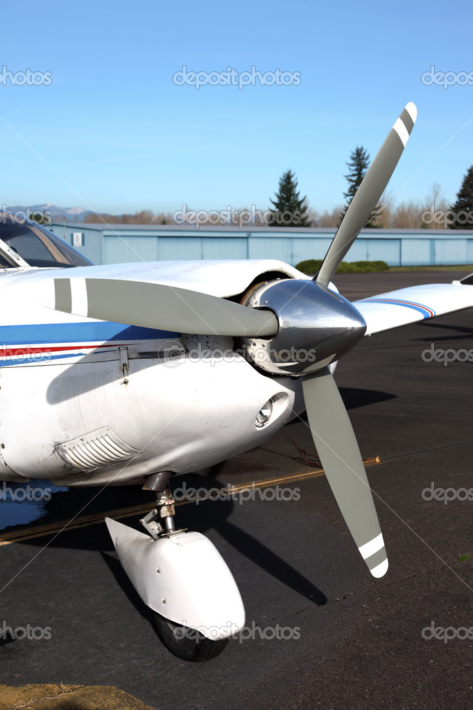 Propeller of single engine aircraft. — Stock Photo ...