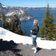 Visiiting Crater lake in southern Oregon. — Stock Photo