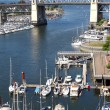Old Bridge, False creek bay and marina. - Stock Photo