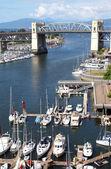 Old Bridge, False creek bay and marina. — Stock Photo