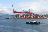 Industrial port of Vancouver BC Canada & seabus transport. — Stock Photo