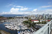 Granville island marina & skyline, Vancouver BC. — Stock Photo