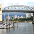 Burrard bridge Granville island, Vancouver BC., Canada. - Stock Photo