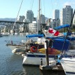 Moored sailboats & yachts in False Creek BC. - Stock Photo
