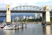 Burrard bridge Granville island, Vancouver BC., Canada. — Stock Photo