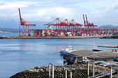 Industrial port of Vancouver BC Canada & seabus transport termin — Stock Photo