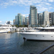 Vancouver BC skyline & yachts. — Stock Photo