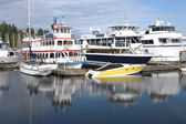 Boats moored in Burrard inlet Vancouver BC Canada. — Stock Photo