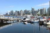 Vancouver BC skyline & sailboats Canada. — Foto de Stock