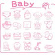 Hand drawn baby icons — ストックベクタ