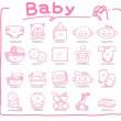 icônes de bébé dessinés à la main — Vecteur