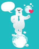 Polar Bear love earth — Stock Vector