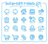 El çizilmiş simgeler internet ve web — Stok Vektör