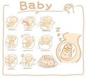 Baby binnen baarmoeder set — Stockvector
