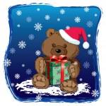 Teddy bear with Xmas present — Stock Vector