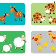 Stock Vector: Farm Animal Families