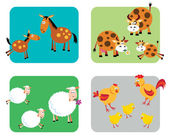 Farm Animal Families — Vector de stock