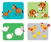 çiftlik hayvan aileler — Stok Vektör