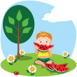 Stock Vector: Boy eating watermelon