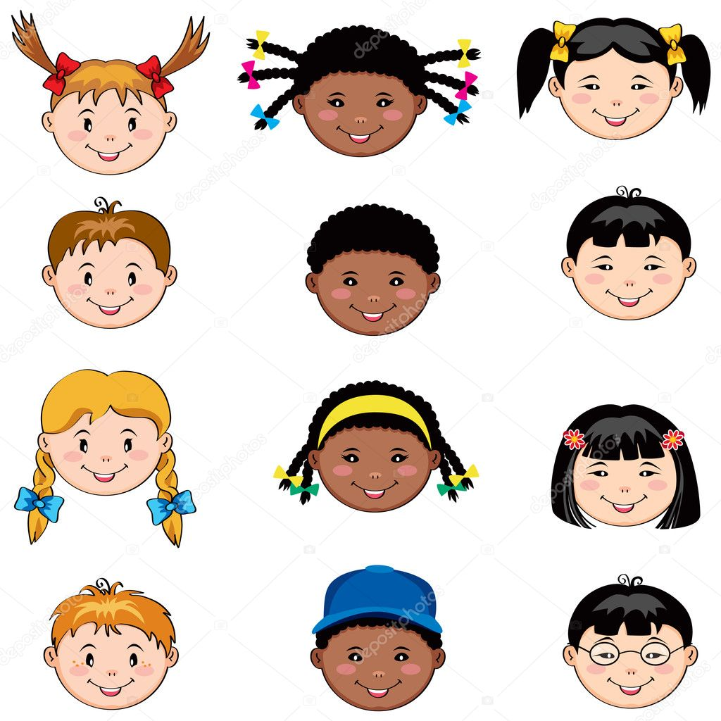 Multi ethnic children faces: Caucasian, African and  Asian boys and girls — Stock Vector #6472600