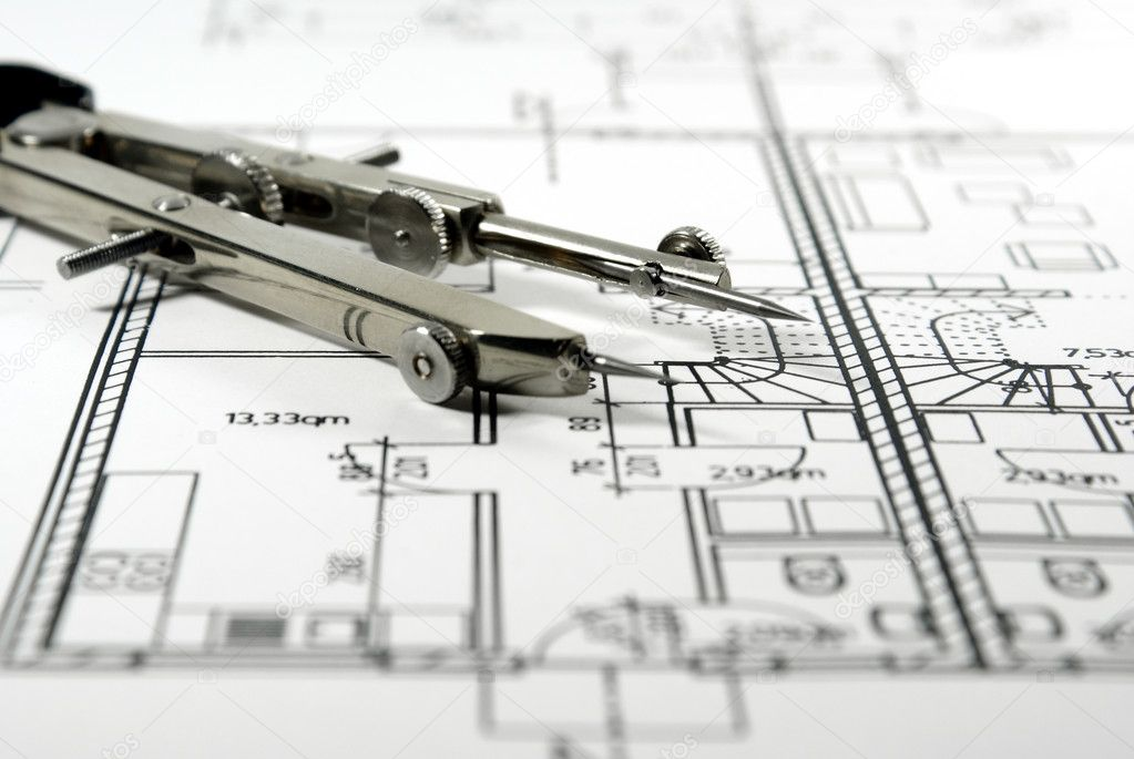Architectural Drawing And Tool Stock Photo Rhombur