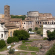 View across Forum Romanum to the Colosseum - Foto Stock
