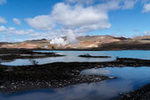 Blue lagoon in front of a geothermal powerplant — Stock Photo