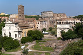 View across Forum Romanum to the Colosseum — Stock Photo