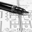 Architectural drawing and tool - Stock Photo