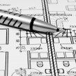 Architectural drawing and tool — Stock Photo