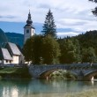 Church in the slowenian alps — Stock Photo
