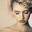 Beauty shot of blond fashion model - Stock Photo