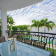 Balcony entertainment area of waterfront house — Stock Photo