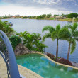 Balcony views from waterfront Mansion with Pool overlooking the — Stock Photo #5786380