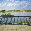 Balcony views from waterfront Mansion overlooking the canal — Stock Photo