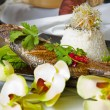 Australian Barramundi, served with fragrant Jasmine rice and wil - Stock Photo