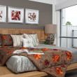 Stock Photo: Master bedroom in modern townhouse