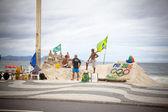 Sand sculptures on Copacabana Rio De Janeiro Brazil — Stock Photo