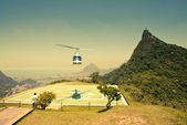 Helicopter in air in front of Corcovado Rio De Janeiro Brazil — Stock Photo