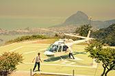 Helicopter on helipad on Corcovado Rio De Janeiro Brazil — Stock Photo