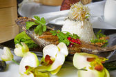Australian Barramundi, served with fragrant Jasmine rice and wil — Stock Photo