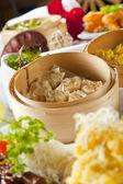 Dumplings in bamboo steamer — Stock Photo
